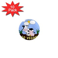 Friends Not Food   Cute Cow, Pig And Chicken 1  Mini Magnet (10 Pack)