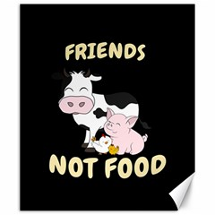Friends Not Food   Cute Cow, Pig And Chicken Canvas 20  X 24