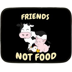 Friends Not Food   Cute Cow, Pig And Chicken Fleece Blanket (mini)