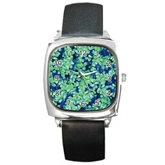 Moonlight On The Leaves Square Metal Watch