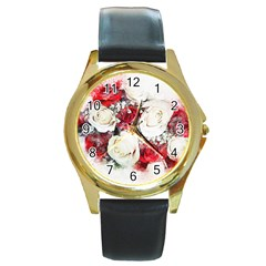 Flowers Roses Bouquet Art Nature Round Gold Metal Watch