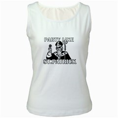 St  Patricks Day  Women s White Tank Top