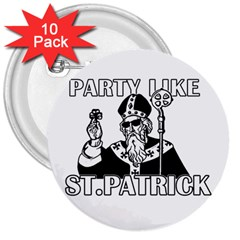 St  Patricks Day  3  Buttons (10 Pack)