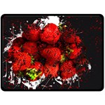 Strawberry Fruit Food Art Abstract Double Sided Fleece Blanket (Large)  80 x60 Blanket Back