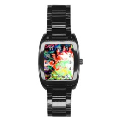 Background Art Abstract Watercolor Stainless Steel Barrel Watch
