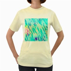 Blue Background Art Abstract Watercolor Women s Yellow T Shirt