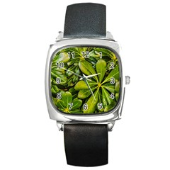 Top View Leaves Square Metal Watch