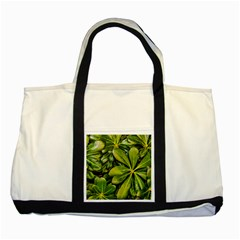 Top View Leaves Two Tone Tote Bag