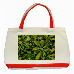 Top View Leaves Classic Tote Bag (red)