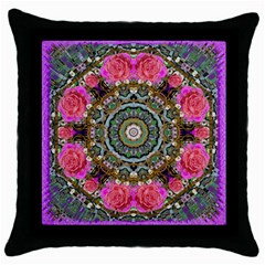 Roses In A Color Cascade Of Freedom And Peace Throw Pillow Case (black)