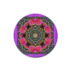 Roses In A Color Cascade Of Freedom And Peace Rubber Coaster (round)