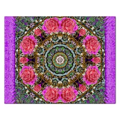 Roses In A Color Cascade Of Freedom And Peace Rectangular Jigsaw Puzzl