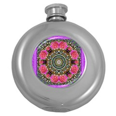 Roses In A Color Cascade Of Freedom And Peace Round Hip Flask (5 Oz)