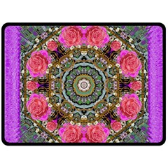 Roses In A Color Cascade Of Freedom And Peace Double Sided Fleece Blanket (large)