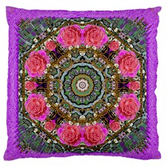 Roses In A Color Cascade Of Freedom And Peace Large Flano Cushion Case (one Side)