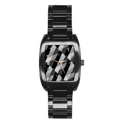 Black And White Grunge Striped Pattern Stainless Steel Barrel Watch