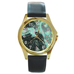 Grainy Angelica Round Gold Metal Watch
