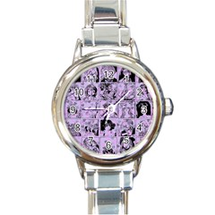 Lilac Yearbook 1 Round Italian Charm Watch