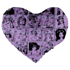 Lilac Yearbook 1 Large 19  Premium Flano Heart Shape Cushions