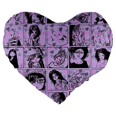 Lilac Yearbook 2 Large 19  Premium Heart Shape Cushions