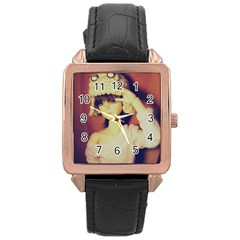 Captain Rose Gold Leather Watch