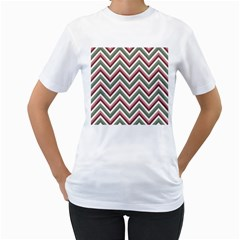 Chevron Blue Pink Women s T Shirt (white) (two Sided)