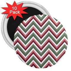 Chevron Blue Pink 3  Magnets (10 Pack)