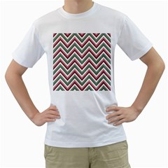 Chevron Blue Pink Men s T Shirt (white) (two Sided)