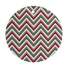 Chevron Blue Pink Round Ornament (two Sides)