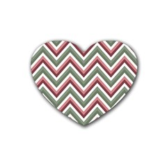 Chevron Blue Pink Heart Coaster (4 Pack)