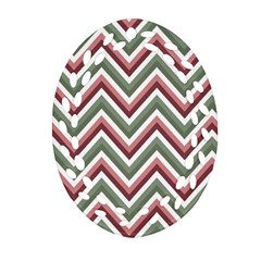 Chevron Blue Pink Oval Filigree Ornament (two Sides)