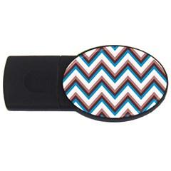 Zigzag Chevron Pattern Blue Magenta Usb Flash Drive Oval (2 Gb)