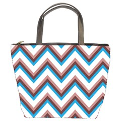 Zigzag Chevron Pattern Blue Magenta Bucket Bags