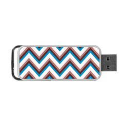 Zigzag Chevron Pattern Blue Magenta Portable Usb Flash (one Side)