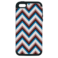 Zigzag Chevron Pattern Blue Magenta Apple Iphone 5 Hardshell Case (pc+silicone)