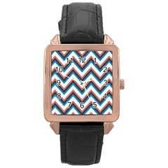 Zigzag Chevron Pattern Blue Magenta Rose Gold Leather Watch