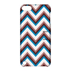 Zigzag Chevron Pattern Blue Magenta Apple Ipod Touch 5 Hardshell Case With Stand