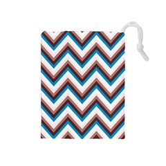 Zigzag Chevron Pattern Blue Magenta Drawstring Pouches (medium)