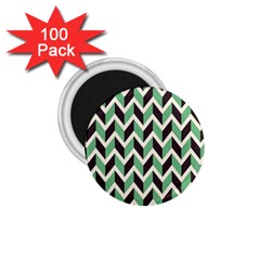 Zigzag Chevron Pattern Green Black 1 75  Magnets (100 Pack)