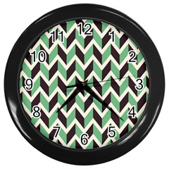 Zigzag Chevron Pattern Green Black Wall Clocks (black)