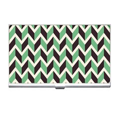 Zigzag Chevron Pattern Green Black Business Card Holders