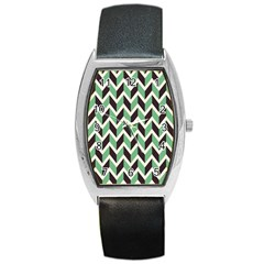 Zigzag Chevron Pattern Green Black Barrel Style Metal Watch
