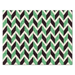 Zigzag Chevron Pattern Green Black Rectangular Jigsaw Puzzl