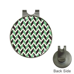 Zigzag Chevron Pattern Green Black Hat Clips With Golf Markers