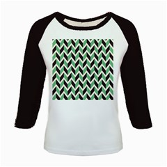 Zigzag Chevron Pattern Green Black Kids Baseball Jerseys