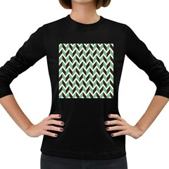 Zigzag Chevron Pattern Green Black Women s Long Sleeve Dark T Shirts