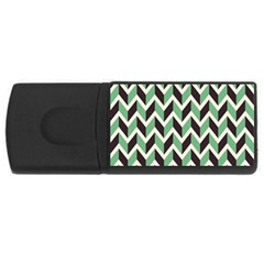 Zigzag Chevron Pattern Green Black Rectangular Usb Flash Drive