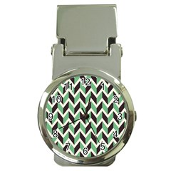 Zigzag Chevron Pattern Green Black Money Clip Watches