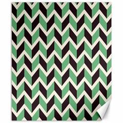 Zigzag Chevron Pattern Green Black Canvas 8  X 10