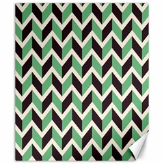 Zigzag Chevron Pattern Green Black Canvas 20  X 24